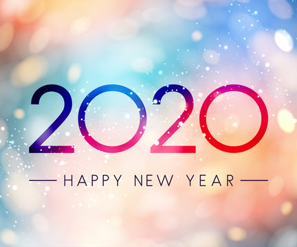 Colorful shiny Happy New Year 2020 greeting card.