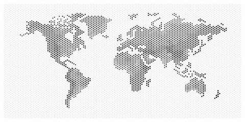 flat pixel dots world map with Atlantic Ocean in the design of points dots of hexagons. Planet Earth background Dotted banner. All the continents of the world in one picture of hexagons pixel Dotted.