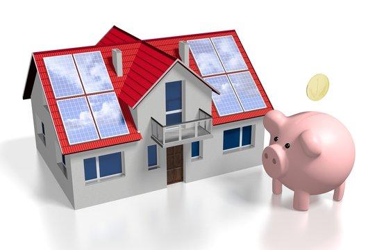 3D solar/ photovoltaic panels concept, house