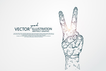 Victory hand shape, concept graphics, vector illustration.