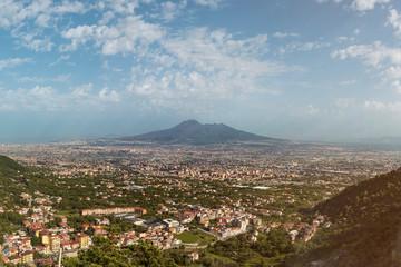 panoramic view over Angri Scafati and Pompei to the Vesuvio Volcano in Italy