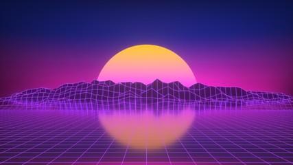 Wall Murals Violet Sonnenuntergang als Neon Glow 80er Jahre Look