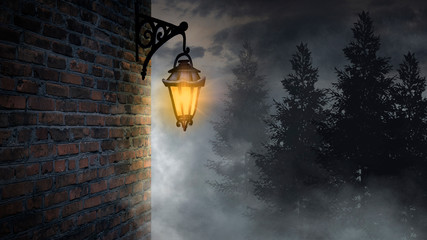 Dark street, a lantern on an old brick wall, a large moon, smoke, smog. Night scene of the old...