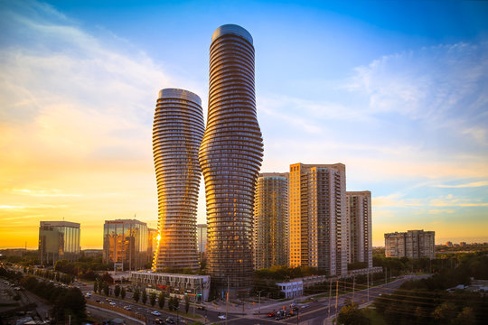 View of Mississauga city in Ontario Canada with modern buildings