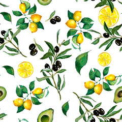 Watercolor seamless pattern of lemon, lemon slices, olives, olive branch  and avocado on a white background. Excellent design for packaging, wrapping paper textile, menu, card, banner and etc.