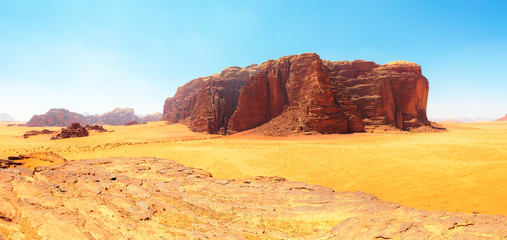 Wadi Rum - The Red Desert Central Plateau (South Panorama)