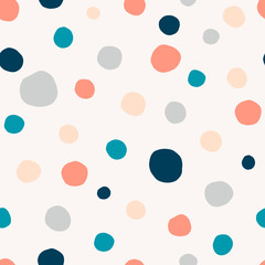 Polka dot, circles hand drawn vector seamless pattern. Circular geometrical simple texture. Multicolored shapes on light background. Minimalist abstract wallpaper, background textile design