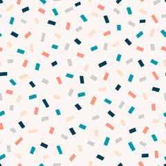 Chaotic rectangles hand drawn vector seamless pattern. Confetti geometrical minimalist texture. Colourful simple illustration on light background. Abstract backdrop, wrapping paper textile design