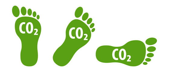 CO2 ecological footprint symbols green eco icons