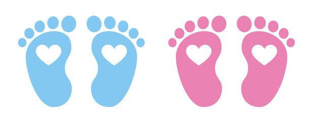 Baby foot barefoot heart icon