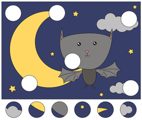 Cute cartoon bat in the night sky. Complete the puzzle and find the missing parts of the picture. Game for kids