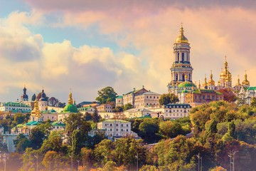 Kiev, Ukraine. Cupolas of Pechersk Lavra Monastery and river Dniepr panoramic city