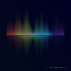 Abstract image of musical equalizer.Rainbow equalizer on black background. Sound Wave. Audio equalizer technology. Detailed vector bokeh.