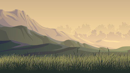 Horizontal illustration of hills and montains.