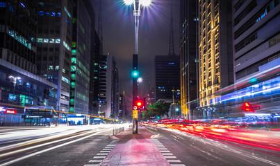 Fotobehang Nacht snelweg Paulista Avenue