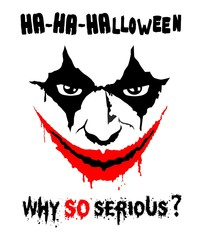 Modern stylized image of super-villain Joker. Halloween flyer, greeting card. Illustration, vector
