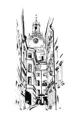 Stockholm, street, vintage vector engraving illustration, hand-drawn, sketch