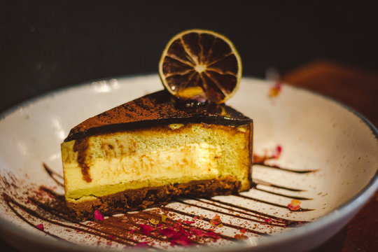 Pistachio & Yuzu Feuilletine Cake A springtime delight; light and zesty cake that refreshes the palate