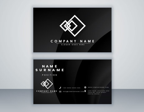 Business card template. modern design with black color and grey color. minimal Eps 10