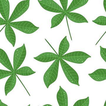 Cassava leaves on white background. Tapioca. Vector seamless pattern
