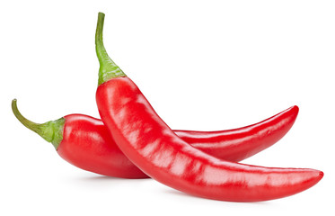 Canvas Prints Hot chili peppers Chili pepper isolated on a white background. Chili hot pepper clipping path