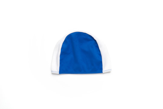 Blue swimming cap, hat for pool or diving sport. Isolated on white background.