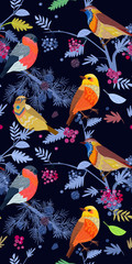 night fabulous seamless banner with cute birds on branches of tr