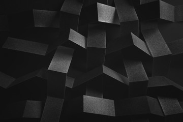 Abstract composition with tangled elements, black background