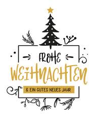 Frohe Weihnachten Kalligraphie. Grußkarte mit Weihnachtsbaum