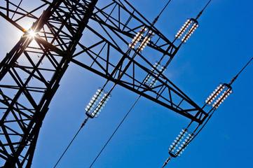 power line with sun