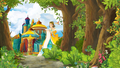 Cartoon nature scene with beautiful girl princess and castle - illustration for the children