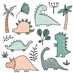 Hand drawn dinosaurs and tropical plants, palm tree, leaves