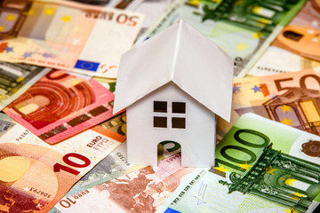 The symbol of the house stands on the background of the Euro