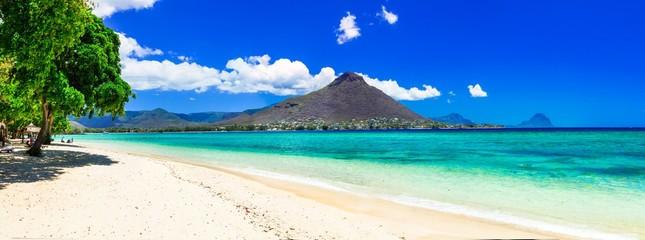 Wall Mural - Beautiful Mauritius island with gorgeous beach Flic en flac