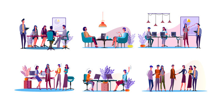 Corporate discussion illustration set. Colleagues meeting at table, discussing project at workplaces. Communication concept. Vector illustration for topics like business, partnership, teamwork