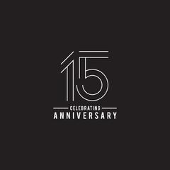 15th years celebrating anniversary emblem logo design