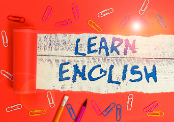 Conceptual hand writing showing Learn English. Concept meaning Universal Language Easy...