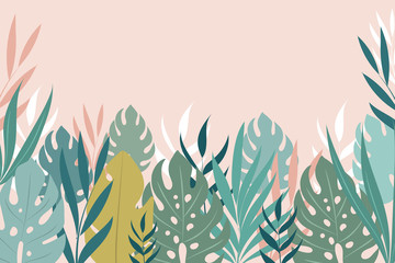 Vector background with tropical leaves