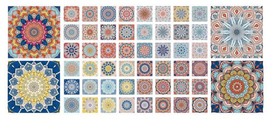 Flower pattern tiles set. Intricate floral ornament. Round decorative elements