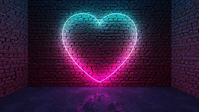 Glowing neon heart shaped like icon on brick wall in dark room