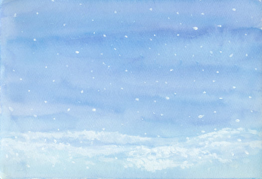 Falling snow landscape winter background, blue and white hand painted on paper for New year, Christmas greeting card, image or text space, or wallpaper backdrop