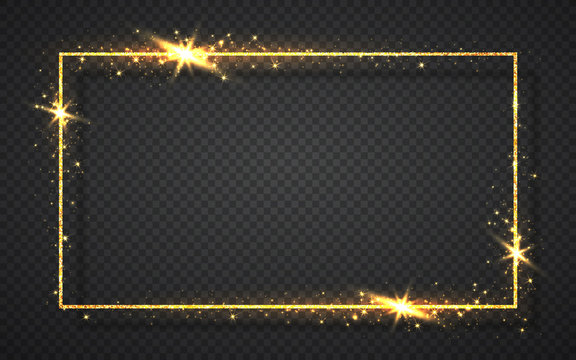 Gold shiny glitter glowing vintage frame with shadows isolated on transparent background. Golden luxury realistic rectangle border. Vector illustration