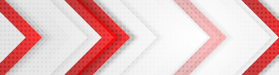 Red and grey geometric hi-tech arrows corporate banner design. Vector background