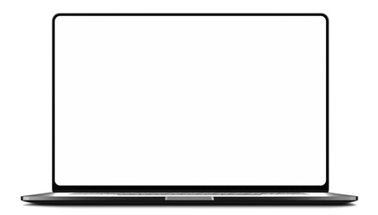 Laptop frameless with blank screen isolated on white background - super high detailed photorealistic