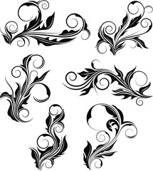 Collection of six abstract floral vector with spiral. Floral vector collection.