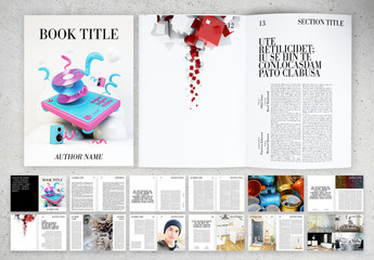 Black and White Book Layout with Typography Accents