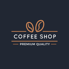 Simple Coffee Shop Logo or Labels.Coffee House Badges or Emblem design elements for cafe or restaurant in vintage retro style with black background.