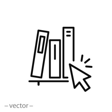 online library icon,  logo education course, guide book, digital book archive, thin line web symbol on white background - editable stroke vector illustration