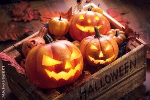 Crew halloween pumpkins happy in aged wooden box Old vintage