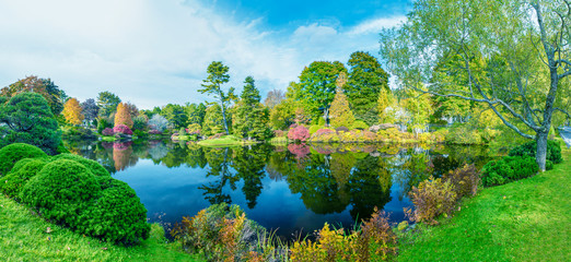Panoramic view of Hadlock Pond in foliage season. Tree colors of Acadia National Park, Maine